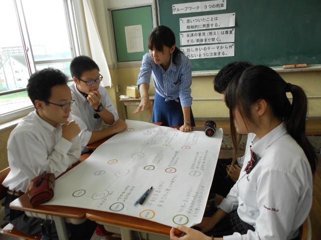 生徒が中心となって政策を比較し、大学生はメンターとなる