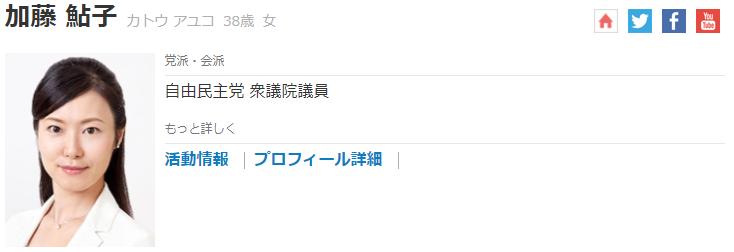 自民党加藤鮎子